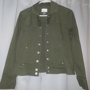 Olive Green Stretch Demin Jacket